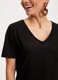 DeFacto V Yaka Basic Kısa Kollu T-shirt Siyah